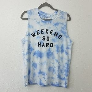 Fifth sun Large tye dye graphic tank top weekend